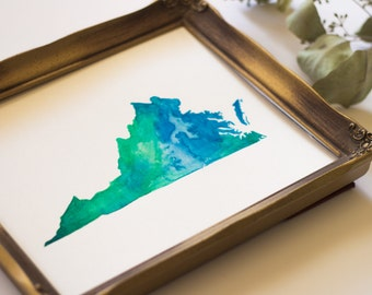 Virginia State Watercolor Art in Blue and Green
