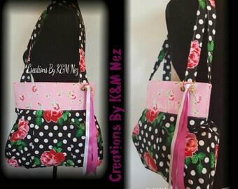 Black Polka-dot/ Pink Floral Shoulder Bag