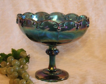 Indiana Blue Carnival Glass Large Stemmed Fruit Bowl