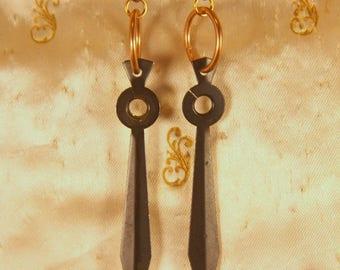 Vintage Clock Hand Earrings // Black Clock Hand Earrings // Clock Hand Earrings // Black and Copper // Matching Earrings // Upcycled
