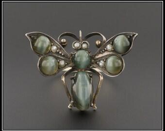 Antique Bug Ring | Antique Pin Conversion Ring | Cat's Eye Chrysoberyl Bug Ring | 14k White Gold & Silver Ring | Statement Ring