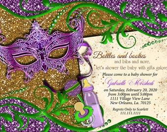 Mardi Gras baby shower, baby shower, mardi gras, mardi gras baby shower invitation, invite, mardi gras invitation,baby shower invitation