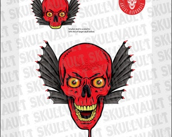 Comic Book Skull Vector Illustration - Red Devil