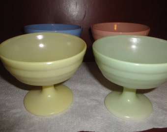 Vintage Set of Four Ringed Colored Sherbert/Ice Cream/Custard Cups