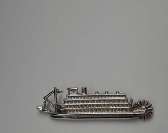 Steamboat Shaped Brooch/ Marked Sterling