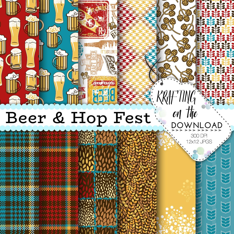 Beer Digital Paper Hop Fest Paper Pack Beer Digital Papers