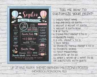 up up and away! hot air balloon - first birthday milestone Any Age Birthday Customized Chalkboard Poster - High-resolution Digital File