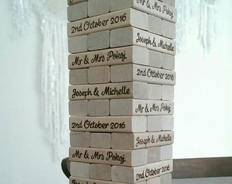 Personalised wooden jenga pieces with personalised storage box. Gift / Wedding guestbook alternative