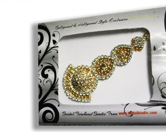 Gorgeous Maang Tikka Bindi Tattoo Gold Tone in Vibrant Crystals MT-BX1