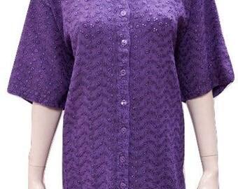 Plus size round neck cut work button down short sleeved tunic Purple 16 18 20 22 24