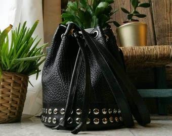 """Bucket bag """"Stella"""" black calfskin leather underseeded"""