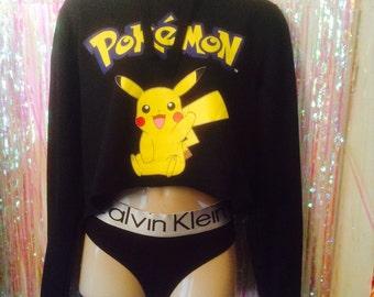 Sassy pokemon pikachu cropped hoody sweat top urban swag dope festival style