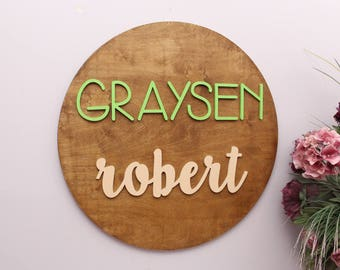 Nursery Wall Decor, Round Wood Sign, Birthday Gift, Nursery Wood Letters, Family Name Circle Wood Sign, Baby Shower Gift, Housewarming Gift