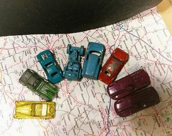 Antique Metal Bright Color Tootsie  Toy Car Lot Jaguar Roadsters Trucks