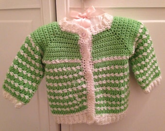 Handmade green and white sweater Size 9 month 12 months baby girls