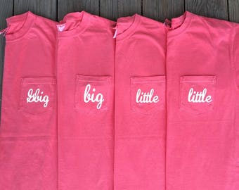 Sorority Family Comfort Colors Pocket Tee, Big Little Pocket Tee, Sorority Shirt, Big Little Sorority Shirt, Comfort Colors Shirt