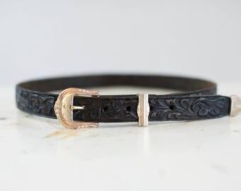 Vintage Black Embossed Belt