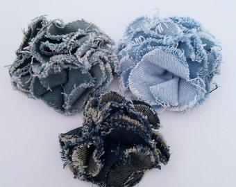 Denim Frayed Fabric Flower Clips