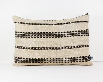 Kilim pillow cover with Black stripes - Kilim floor pillow - Bohemian pillow - Vintage kilim rug pillow - 22x16 inches - Boho throw pillow