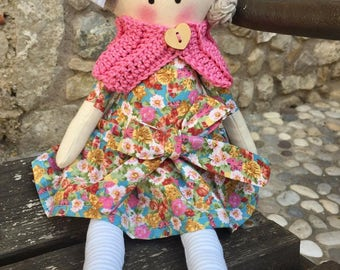 Cloth doll with soft flower dress doll rag doll