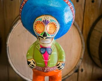 Day of the dead sugar skull statue, Mexican art, Pancho Villa