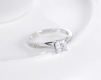 Dainty Silver Princess Cut Engagement / Promise Ring