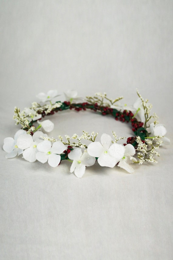 FREE GIFT with Purchase // Flower Crown Handmade Holiday Festive Winter White Holly Headpiece