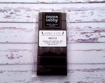 Chilli - Dark Chocolate Bar - Handmade from Belgian Chocolate. Dairy free. Gluten free.