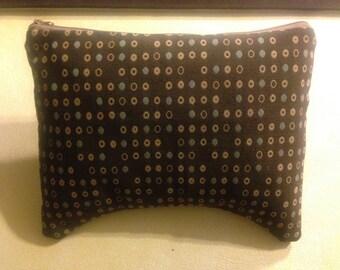 Brown w/tan teal dots zippered clutch