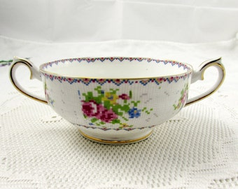 Royal Albert Petit Point China Soup Bowl, Bouillon Bowl, Double Handled Soup Bowl, NO Saucer Soup Bowl ONLY, Vintage Bone China