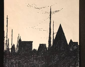 """Jay Steensma Litho Crayon Drawing """"Belmont"""" 1978 Signed with Poetic Description by Steensma"""