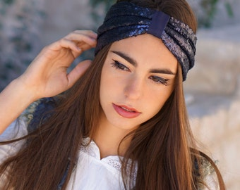Beautiful navy blue headband with sequins.