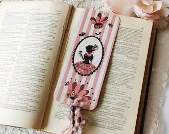 Bookmark - Bookmark with fibers - illustrated bookmark - Boudoir - Stripe - My Lonely Heart medallion