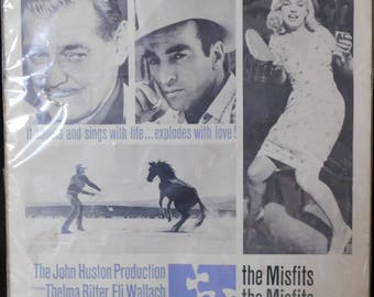 "The Misfits Clark Gable Marilyn Monroe Montgomery Clift US Window Card  Original Movie Poster  14"" x 16""  1961"