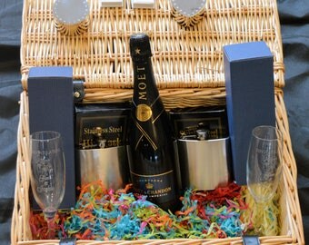 Wedding Hamper. PERSONALISED. Engraved. Can be customised.