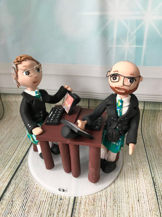 Computer Technology Themed/ Wedding cake Topper / fully sculpted - Fully Personalised a lovely keepsake