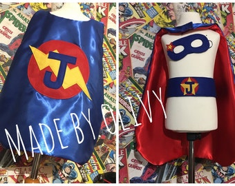 Personalised handmade superhero cape set with belt & mask with one initial on the back.