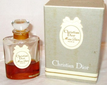 Vintage MISS DIOR PARIS by Christian Dior 1 fl. oz. Perfume, Partial Bottle 40% Full Original Formula Women's Scent Perfume Fragrance Boxed