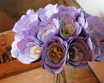 Beautiful purple paper flowers, handmade book print bouquet, ideal first anniversary gift