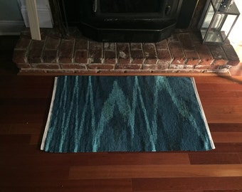 Super Fluffy Handwoven Rug - Blues