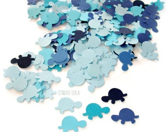200 Mixed Blue Turtle Cut-outs, Confetti - Set of 200 pcs