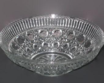 Vintage Bowl, Large Glass Bowl, Pressed Glass Bowl, Serving Bowl, Home Decor, Candy Bowl, Glass Bowl, Table Decor, Fruit Bowl, Abstract Bowl