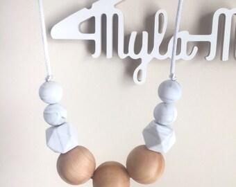Teething Necklace, Nursing Necklace, Sensory Bead Necklace,Marbled Necklace, Silicone Bead Necklace, Nursing Jewelery- The Madi
