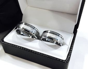 Mens Tungsten Wedding Band, Meteorite Inlay Ring, His Engagement Ring, His and Hers Promise  Rings, Tungsten Rings, Mens Tungsten Ring, Band