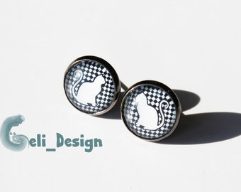 Earrings cabochon cat black white