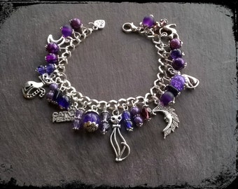 Cat & moons crazy cat lady witchy purple charm bracelet.