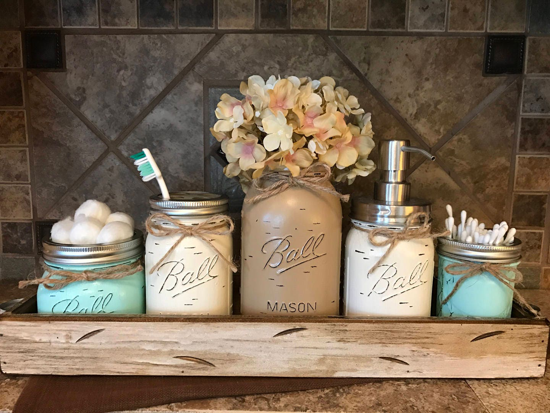 Mason Jar Bathroom Decor Antique White Tray Set Cotton