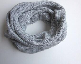 knit cowl heather grey, Tube hoody grey, cotton-blend scarf, womens cowl *snood STYLE CALYPSO* by zauberhanddesign