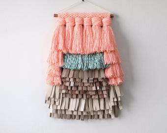 Handwoven Scultpural Wall Hanging - Mixed Media - Leather and Fiber - Peach Green Tan