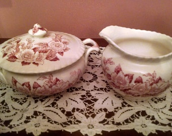 johnson brothers pink apple blossom sugar bowl with lid and creamer
